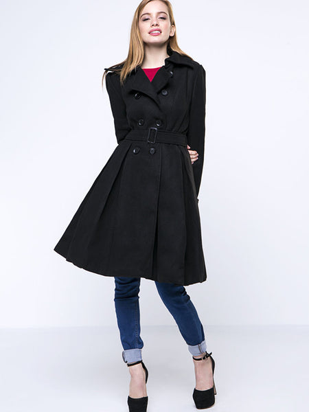 Black Classical Lapel Double Breasted Plain Woolen Coat - Bychicstyle.com