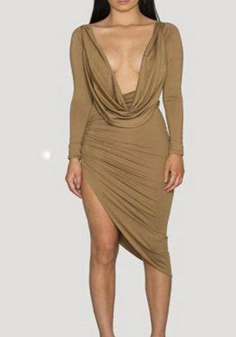 Apricot Irregular Pleated Deep V-neck Long Sleeve Party Maxi Dress