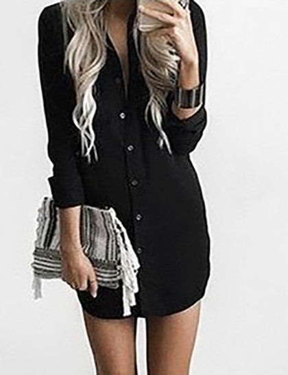 Casual Social Hour Solid Color Shirt Dress