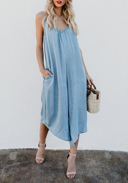 Blue Pockets Spaghetti Strap Backless Denim V-neck Going out Casual Seven's Jumpsuit