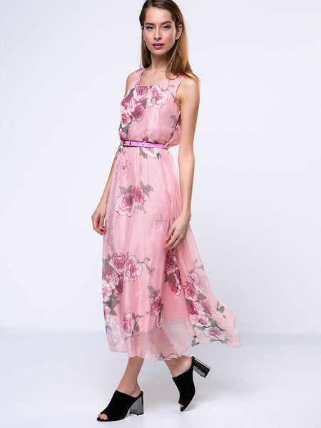 Flowing Round Neck Floral Chiffon Maxi Dress - Bychicstyle.com