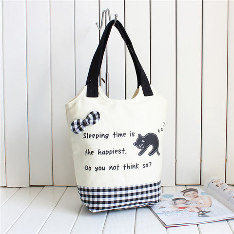 Streetstyle  Casual Women Canvas Casual Cute Cartoon Cat Handbag Shoulder Bags
