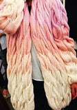 ByChicStyle Pink Color Block Long Sleeve Fashion Cardigan Sweater