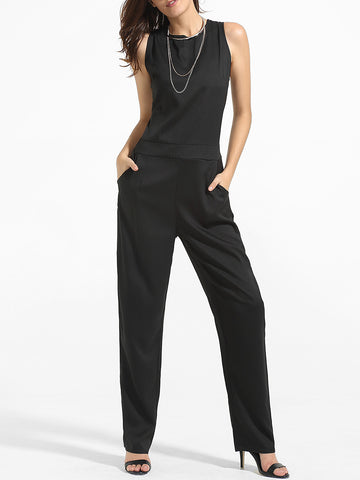 Crew Neck Back Hole Plain Straight Jumpsuit - Bychicstyle.com