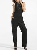 ByChicStyle Crew Neck Back Hole Plain Straight Jumpsuit - Bychicstyle.com