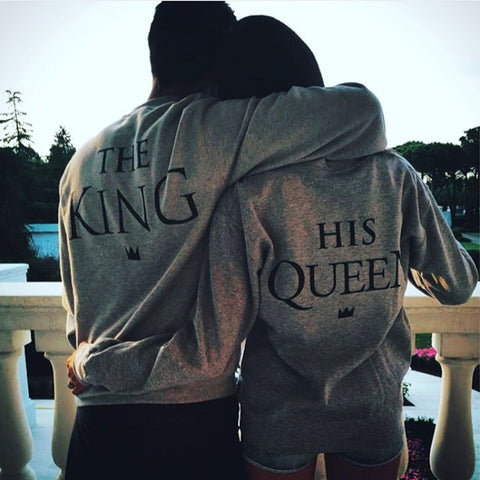 The King&His Queen Men Women's Casual Lover Couple's Cotton Sweatshirts Hoodies for Autumn Winter