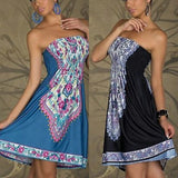 ByChicStyle Casual Sexy Women Mini Dress Casual Floral Bandeau Beach Summer Boho Maxi Sundress