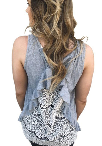 Grey Patchwork Lace Ruffle Round Neck Fashion Vest
