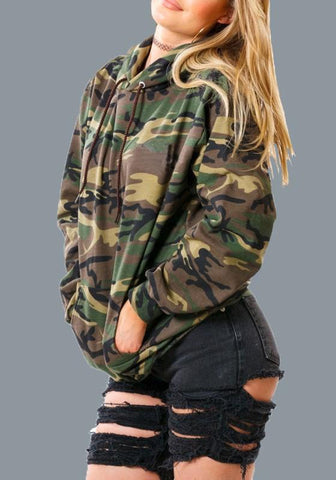 Army Green Camouflage Pockets Camo Veterans Day Hooded Long Sleeve Pullover Sweatshirt