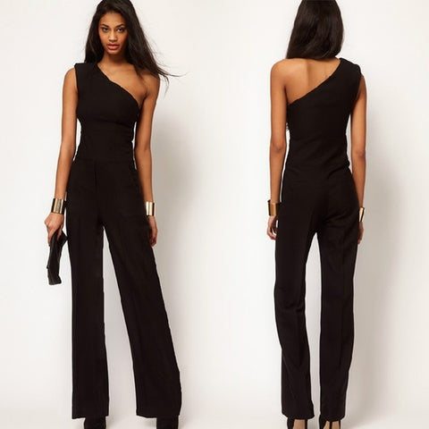 Casual Women Black One Shoulder Sexy Jumpsuit Bell-bottoms Loose Overall Pants S-XXL