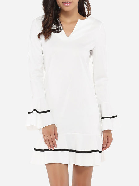 Mandarin Sleeve V Neck Dacron Color Block Shift-dress - Bychicstyle.com