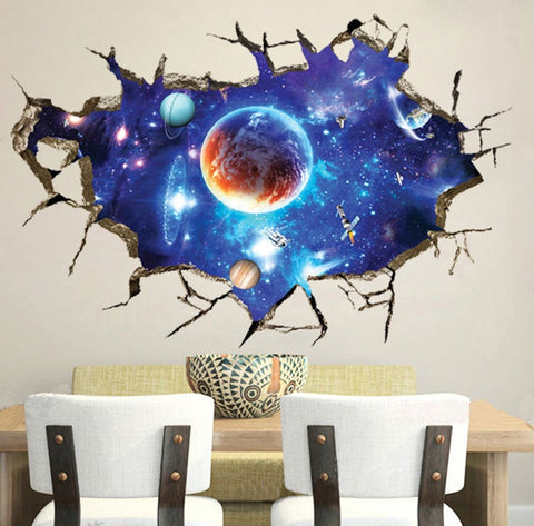 Galaxy Space 3D Wall Mural Removable Wall Sticker Art Vinyl Decal Room Decor (Color: Multicolor)