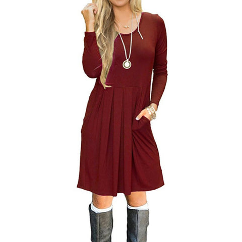 Casual Womens Fashion Long Sleeve Solid Color Cotton Short Dress Long Tops for Leggings