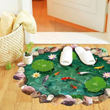 ByChicStyle Fish Ponds Lotus Floor Wall Sticker Bedroom Living Room Bathroom Coverings Sticker Decals Home Decor Creative Wall Art (Color: Green)