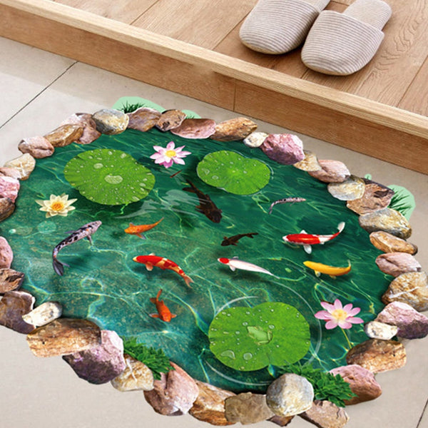 Fish Ponds Lotus Floor Wall Sticker Bedroom Living Room Bathroom Coverings Sticker Decals Home Decor Creative Wall Art (Color: Green)