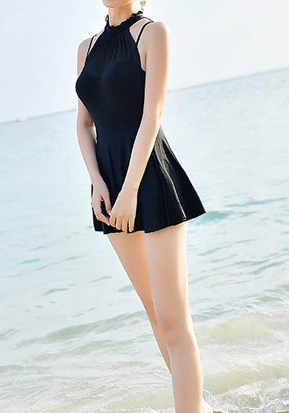 Black Cascading Ruffle Double-deck One Piece Fashion Swimwear