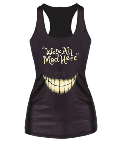 Fashion Women Summer \We're All Mad Here\ Smile Print Vest Top Sleeveless Casual Tank Tops T-Shirt