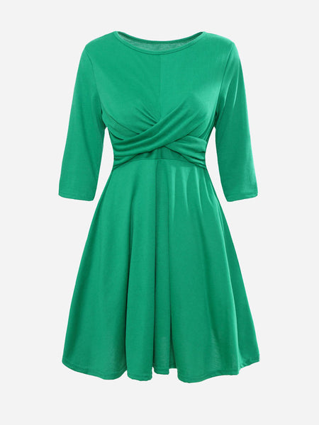 Round Neck Plain Pleated Skater-dress - Bychicstyle.com