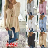 ByChicStyle Casual Women Fashion Long Sleeve V-neck Pure Color Sexy Loose Knitted Tops