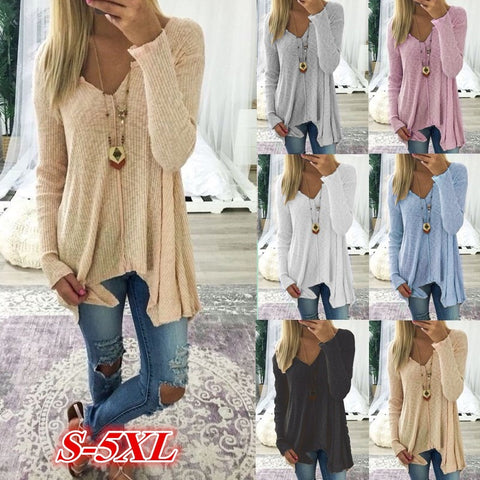 Casual Women Fashion Long Sleeve V-neck Pure Color Sexy Loose Knitted Tops