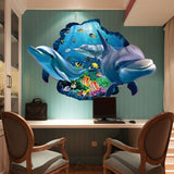 ByChicStyle New Special Design 3d Effect Underwater World Dolphin Fish Background Wall Stickers Fashion Home Decoration ZHH1058/er (Color: Multicolor)