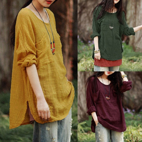 Casual Vintage Women Long Sleeve  Cotton Loose Casual Tops Blouse T-Shirt Plus