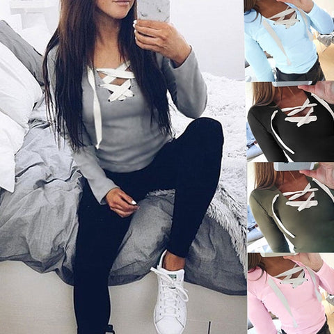 Casual Spring New Women Fashion Sexy Long Sleeve Shirt Blouse Loose Top Casual T-shirt