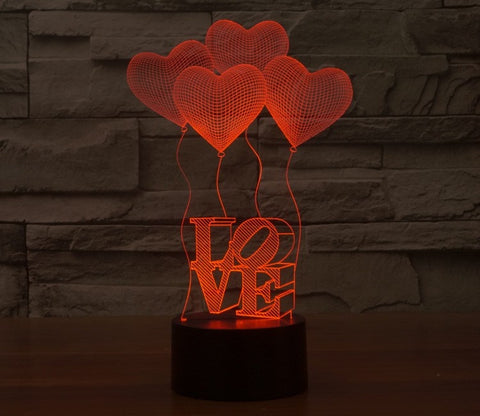 3D illusion Love Shape Acrylic LED Night Light Heart Colorful Gradient Atmosphere Lamp USB Children Bedroom Table Lamp (Color: Multicolor)