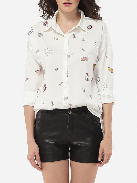 Casual Polo Collar Printed Blouse