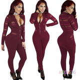 ByChicStyle Rompers Womens Jumpsuit Fashion Stand Up Collar Zipper Long Sleeve Bodysuit Sexy Gauze Splicing Club Overalls