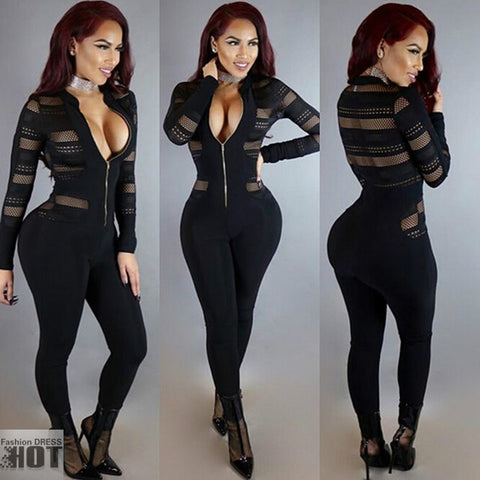 Rompers Womens Jumpsuit Fashion Stand Up Collar Zipper Long Sleeve Bodysuit Sexy Gauze Splicing Club Overalls