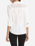 ByChicStyle Hollow Out Plain Chic Band Collar Blouse - Bychicstyle.com