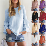 ByChicStyle Women Ruffles Long Sleeve Chiffon Shirt Solid Color Casual Loose Fashion Tops Blouse