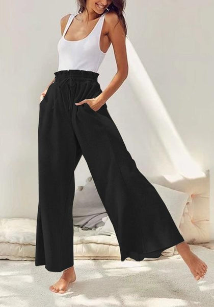 Black Plain Drawstring Ruffle Mid-rise Casual Pants