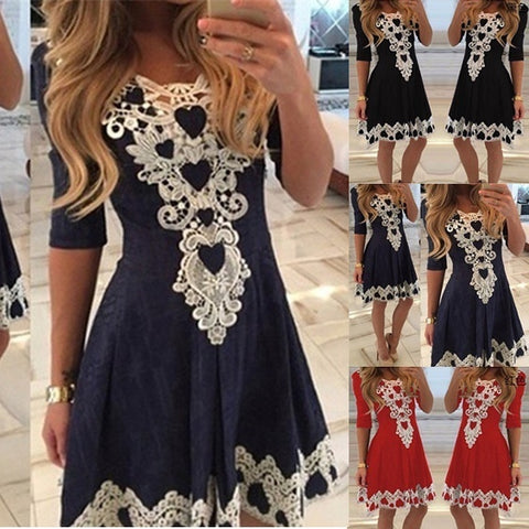 Spring and Summer Women Sexy Lace Patchwork Dress Women New Fashion Sexy Lace Flower Mini Dress Party Dress