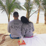 ByChicStyle The King&His Queen Men Women's Casual Lover Couple's Cotton Sweatshirts Hoodies for Autumn Winter