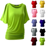 ByChicStyle Summer Women 10 Colors Bat Sleeve T-shirt Loose Solid Color Round Neck Short Sleeve Blouse