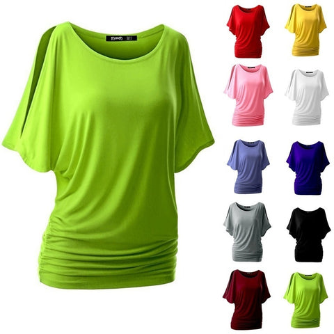Summer Women 10 Colors Bat Sleeve T-shirt Loose Solid Color Round Neck Short Sleeve Blouse