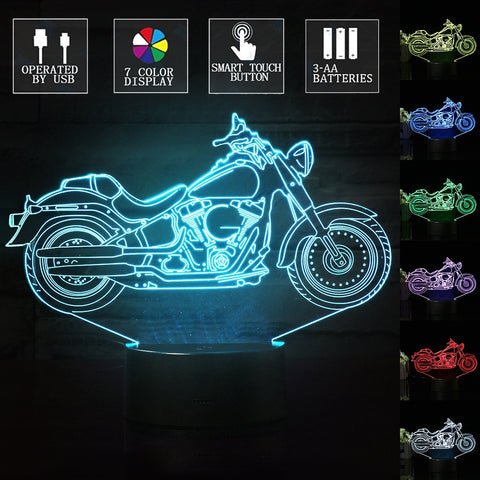 Touch 3D Motorcycle Visual LED Night Light 7 Color Change Table Lamp Christmas Kids Boys Gift Home Decor with USB Cable