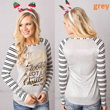 ByChicStyle Women T-shirt Christmas Letter Print Mosaic Top Casual O-neck Raglan Long Sleeve T shirt