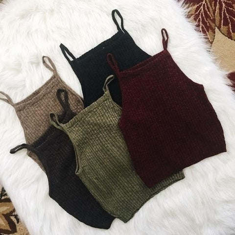 Casual Women Sexy Sleeveless Knit Crop Tops