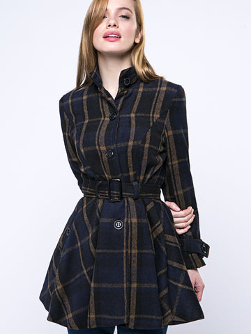 Casual Band Collar Single Breasted Plaid Swing Coat