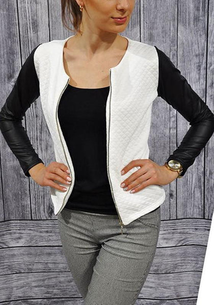 White Patchwork Zipper PU Leather Round Neck Long Sleeve Coat