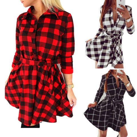 Casual Women Fashion Spring Grid Slim Midi Dress Long Sleeve Shirt Dress with Belt