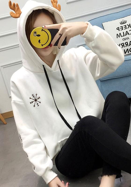 White Letter Irregular Drawstring Hooded Long Sleeve Pullover Sweatshirt