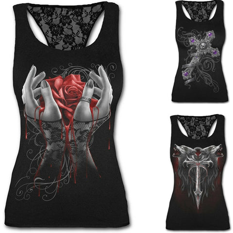 Casual Women Ladies Fashion Printing Tanks Sexy Tunic Lace Tank Top