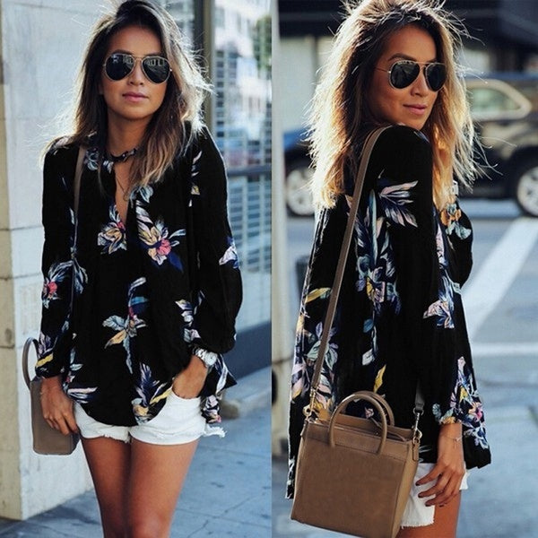 Women Casual Spring Summer Floral Print Hollow Out V neck Long Sleeve Blouse Top