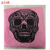 ByChicStyle Women Loose Off Shoulder Long Sleeve T-shirt Skull Printing Pullover Tops