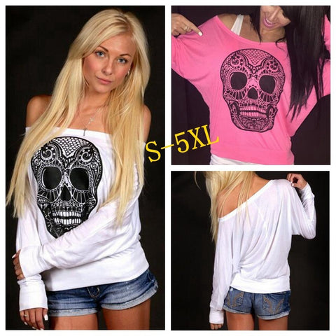Women Loose Off Shoulder Long Sleeve T-shirt Skull Printing Pullover Tops