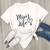 ByChicStyle Casual Mom Life Heart Letter Printed V-Neck T-Shirt Short Sleeve Top Blouse Casual Shirt